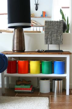 colorful lego storage [using old paint cans]