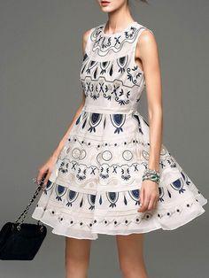 Embroidery Cotton Mini dress