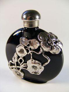 Vintage Perfume Bottle Silver Overlay Art Nouveau