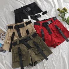 A-line High Waist Slim Shorts – TopFashionova Teen Fashion Outfits, Grunge Outfits, Classy Outfits, Pretty Outfits, Gothic Fashion, Trendy Fashion, Aesthetic Fashion, Aesthetic Clothes, Jugend Mode Outfits