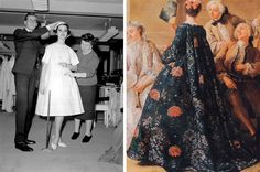 "Yves Saint Laurent fitting a dress for his first collection for Christian Dior under its direction and XVIII ""Watteau"" dress"