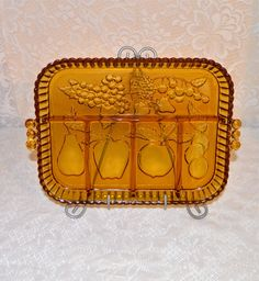 Golden Amber Relish Dish Divided Relish Tray Candy Nut by WVpickin