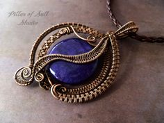 Purple Agate Wire Wrapped pendant necklace, statement necklace, wire wrapped jewelry handmade, copper jewelry, wire jewelry, woven wire on Etsy, $55.00