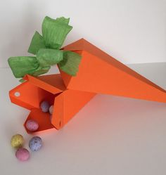 Easter Gift Box Carrot Shaped Box Complete with Green Paper