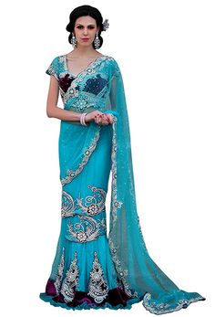 Fabric: Faux Georgette Design: Antique Zardosi,Beads,Bugle Cutdana Embroidery With Stones & Crystals Paired With A Matching Blouse Free International Shipping Available Bollywood Theme, Bridal Pictures, Net Saree, Party Wear Sarees, Saree Wedding, Indian Outfits, Teal, Sari, Classy