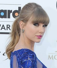 Taylor swift updo long straight casual updo hairstyle with blunt cut taylor swift updo long straight casual updo hairstyle with blunt cut bangs voltagebd Image collections