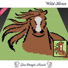 Wild Horse crochet blanket pattern; c2c, cross stitch; graph; pdf download; no written counts or row-by-row instructions by TwoMagicPixels, $3.79 USD