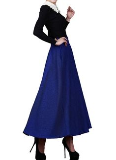 Medeshe Women's Royal Blue Winter Woolen Long Maxi Skirt -- This is an Amazon Affiliate link. Read more at the image link.