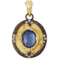 Armenta Triplet Diamond Enhancer Pendant ($1,345) ❤ liked on Polyvore featuring jewelry, pendants, blue, jewelry enhancers & charms, blue pendant, pendant charms, diamond pendant jewelry, diamond pendant and diamond jewellery