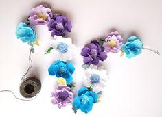Felt flower garland of turquoise and lavender - felt flower vine, floral garland, felt rose garland, nursery garland,  wedding garland