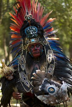 """this is close to what a Mexica warrior looked like. But is truly a modern day """"Aztec"""" dancer."""