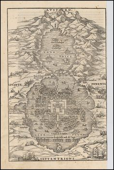 Mapa de lago mexicano con ciudades