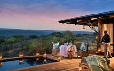 Candlelit meal for two with views over the private game reserve at Kwandwe Ecca Lodge, Game Reserve South Africa, Private Games, Outdoor Living, Outdoor Decor, Luxury Holidays, Lodges, Places To Go, Beautiful Places, Patio