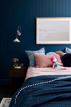 A little girl's bedroom with big personality - Cedar & Suede Dark Blue Feature Wall, Blue Feature Wall Bedroom, Blue And Pink Bedroom, Blue Girls Rooms, Dark Blue Bedrooms, Blue Bedroom Decor, Dark Blue Walls, Rustic Bedroom Design, Romantic Bedroom Decor