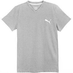 Puma Ideal V-Neck Tee Mens 835969-04 Medium Grey White S/S T-Shirt Top Size S