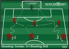 Soccer Drill Diagram: Shooting, Combo, 1v1 Shooting Drill