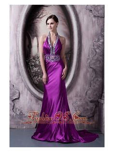 Affordable Eggplant Purple Evening Dress Column Halter Silk Like Satin Beading and Appliques Brush Train- $ 172.59  www.fashionos.com  affordable graduation dress for sale | online shop for prom dress | prom dress online dress store | discount prom dress online | low price homecoming dress for sale | evening dress online store | customize evening dress unique | evening dress spring collection | mall for prom/evening dress | free shipping prom dress cheap |