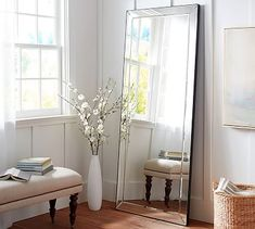 Shop astor floor standing mirror from Pottery Barn. Our furniture, home decor and accessories collections feature astor floor standing mirror in quality materials and classic styles. Floor Standing Mirror, Long Mirror, Master Bedroom Makeover, My Living Room, My New Room, Apartment Living, Decor Interior Design, Decoration, Bedroom Decor