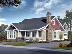 Elevation of Bungalow   Craftsman   House Plan 87523