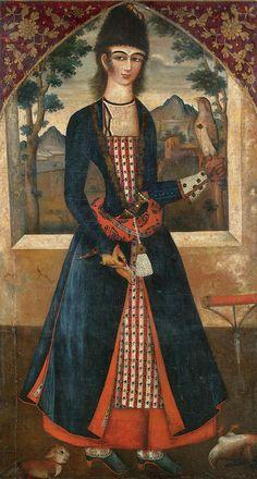 تصویر یک جوان ، شیوه محمد صادق، نیمه دوم قرن 18 میلادی، رنگ و روغن روی بوم، 172 در 94 سانتیمتر. PORTRAIT OF A PRINCELY YOUTH, SYTLE OF MUHAMMAD SADIQ, QAJAR, PERSIA, SECOND-HALF OF THE18TH CENTURY oil on canvas 172 by 94cm.
