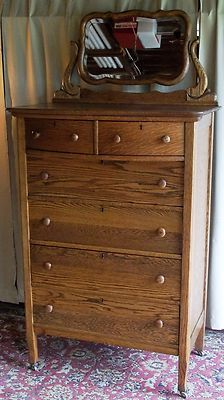 Like All Antiques It S Sy Has Character And Is Beautiful For A Great Price Antique Oak 2 Over 4 Drawer Tall Dresser W Large Tilt Beveled Mirror
