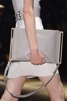 24 Looks with designer bags Glamsugar.com Lanvin at Paris Spring 2015  grey leather clutch
