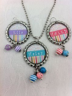 Personalized Bottlecap Necklace with Her Name - Pink Blue or Purple Necklace - Spring Necklace