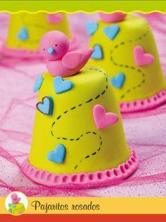 Mini Tortas Pajaritos rosados #EVIADIGITAL Descargalo ya en www.eviadigital.com