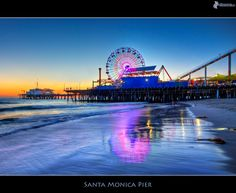 Santa Monica Pier, coast, beach, Los Angeles, ferris wheel - Buildings - Pictures and wallpapers Santa Monica California, Travel Usa, Nevada, Places To Travel, Scenery, Arizona, Adventure, City, Paper Engineering