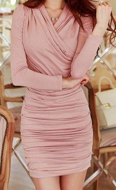 Pink ruched dress...love everything about this dress ....the neckline, the sleeves and the ruching.