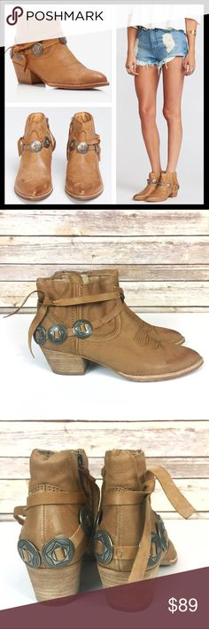 """dolce vita // skye western boots ankle booties Achieve boho elegance with this killer boot, detailed with vintage cowboy medallians. 100% soft leather upper. 2"""" heel. Dolce Vita literally means """"""""sweet life"""""""" and that is just what you'll be livin' when you slip these babies on. Color is saddle, a nice neutral tan. They are a display pair and may have a scuff or scratch but they are unworn, like new without box. Perfect for spring! Dolce Vita Shoes Ankle Boots & Booties"""