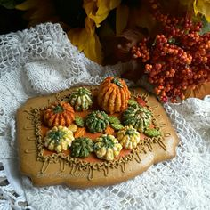 Gourds, gingerbread piped royal icing gourds, fall decoration
