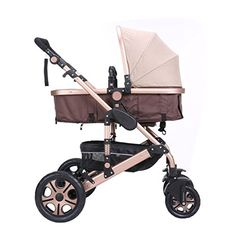CAHOMEAdjustable AntiShock High View Stroller Baby Carriage Pushchair Pram Gold * Learn more by visiting the image link.