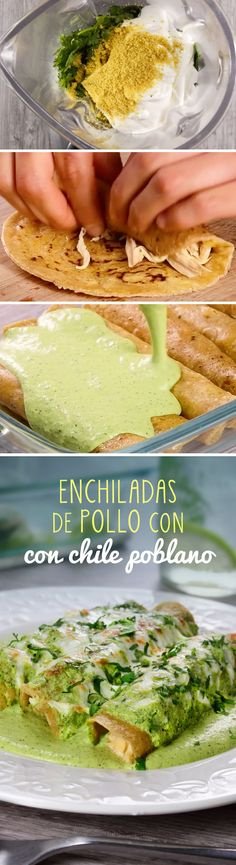 Enjoy these delicious chicken enchiladas with a creamy chile sauce … - Easy Food Recipes I Love Food, Good Food, Yummy Food, Mexican Cooking, Mexican Food Recipes, Comida Diy, Food Porn, Chile Poblano, Deli Food