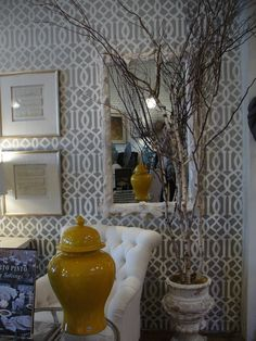 imperial trellis wall paper, grey - use inside china cabinet