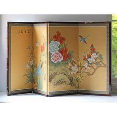 """Asian Four Panel $270 Material  Paper, Wood  Color Multi  Measurements  L 1"""" W 70"""" H 34.50"""""""