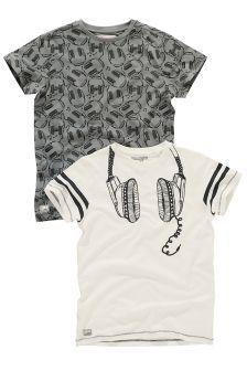 Two Pack Grey And Ecru Headphones T-Shirt (3-16yrs)