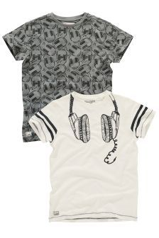 Two Pack Grey And Ecru Headphones T-Shirt (3-16yrs)