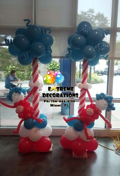 Dr Seuss Thing one and Thing 2 Balloon columns. Balloon decorations in Miami . Cat in the hat party decoration ideas. Extreme Decorations ph: 786-663-8198 www.extremedecorations.com