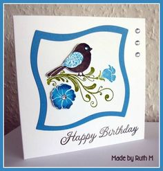 Whimsical Wings and Wonky Squares Happy Birthday card using Stampin Up Wings of Friendship