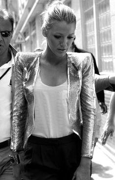 sparkly shoulder padded jacket