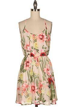 FLORAL PRINT CHIFFON DRESS  #20K-12125-1