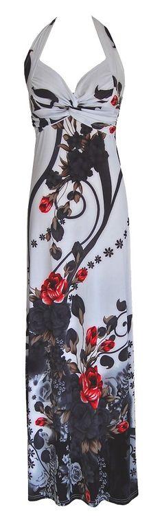White Black & Red Floral Halter Maxi Dress