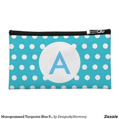 Monogrammed Turquoise Blue Polka Dots Cosmetic Bag