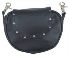 Leather Wide Cut Studded Motorcycle Belt Loop Bag - Allstate Leather