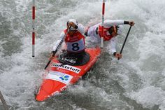 Franz Anton and Jan Benzien, the reigning world champions in white-water slalom, regularly train at Kanupark Markkleeberg.  Photo: Kanupark Markkleeberg