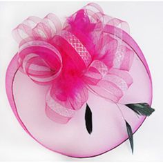 Hot Pink Sequined Tulle Feather Dress Veil Hats Headpieces for Women  SKU-11202095 4b9989d5f830