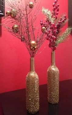 Epsom salt/gold spray paint DIY Christmas wine bottle craft.