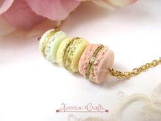 French macaron necklace pink grapefruit lemon yellow and by xunnux