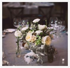 natural floral wedding centerpieces with roses, lambs ear & crystals